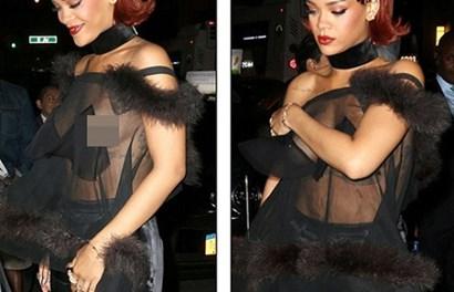 Rihanna liên tục lấy tay che ngực vì diện áo trong suốt không nội y