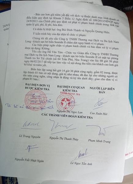 """Khánh Hòa: """"Chặt chém"""" du khách, một khách sạn bị xử phạt hơn 40 triệu đồng"""