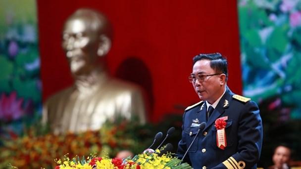 Đại tá Vũ Công Sơn trình bày báo cáo tại đại hội (Ảnh: Nguyễn Hải)
