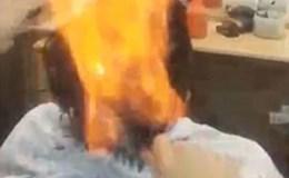 """Nín thở màn phóng hỏa cắt tóc bằng... lửa """"siêu dị"""""""