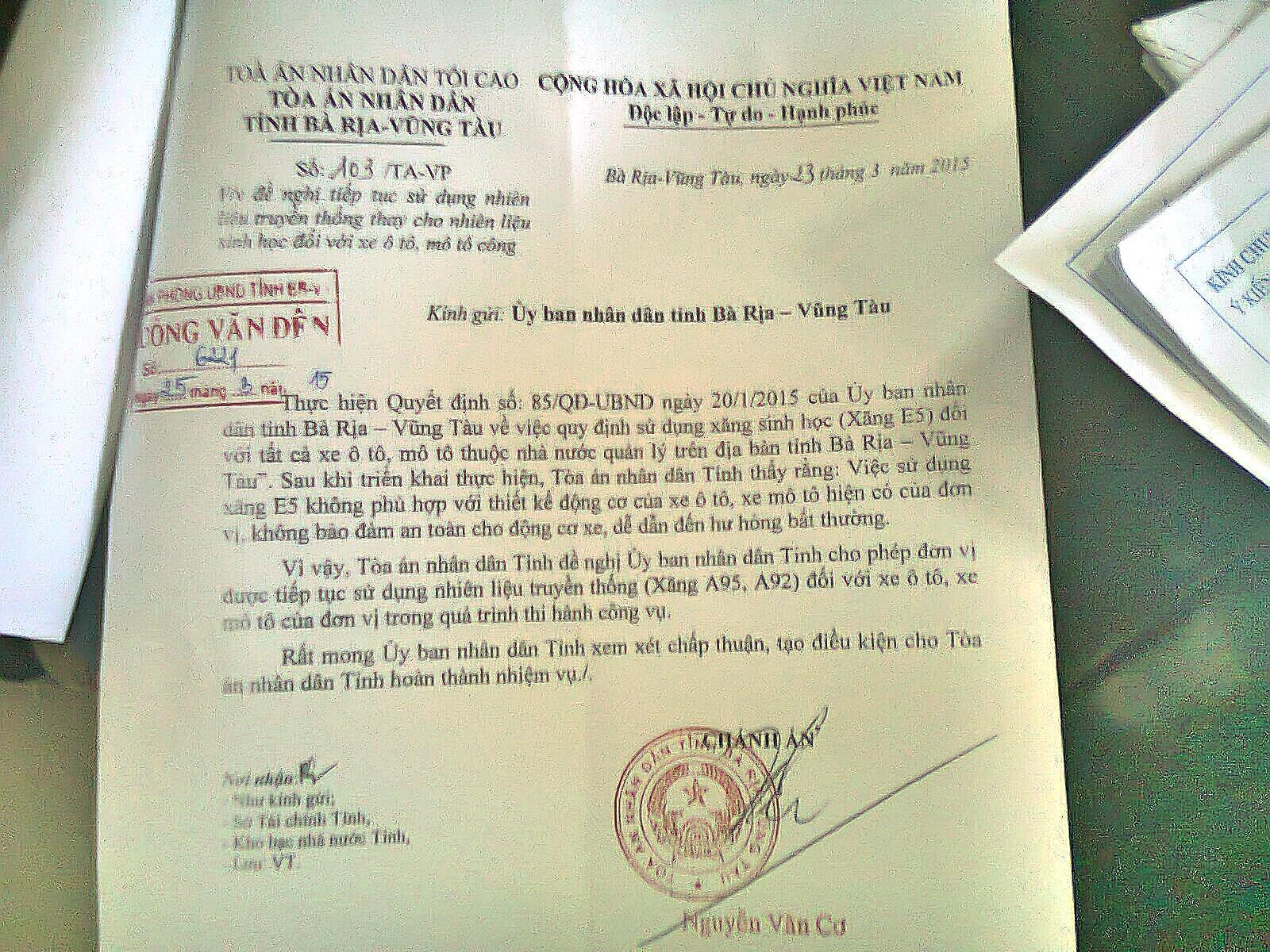 Vụ xin dừng sử dụng xăng E5: Sau 3 ngày, Tòa án Bà Rịa - Vũng Tàu xin dùng trở lại