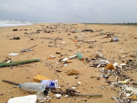 Dầu đen vón cục và rác thải lại trôi tấp vào bờ biển Núi Thành - ảnh 1