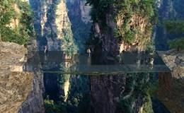 """Trung Quốc xây tiếp cầu kính """"tàng hình"""" chênh vênh giữa vực núi sâu hút"""