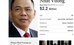 Đại gia Phạm Nhật Vượng tăng 107 tại xếp hạng tỷ phú giàu nhất thế giới