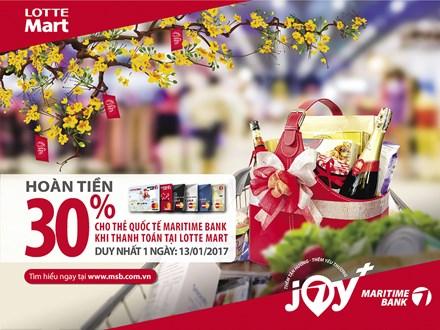 Hoàn tiền 30% một ngày duy nhất tại LOTTE Mart cho chủ thẻ quốc tế Maritime Bank - ảnh 1