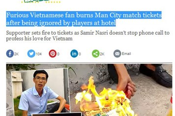 Vụ đốt vé của cổ động viên Việt Nam gây sốt với báo Anh